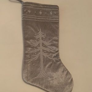 Other - Beaded Christmas Tree Stocking Silver Tone